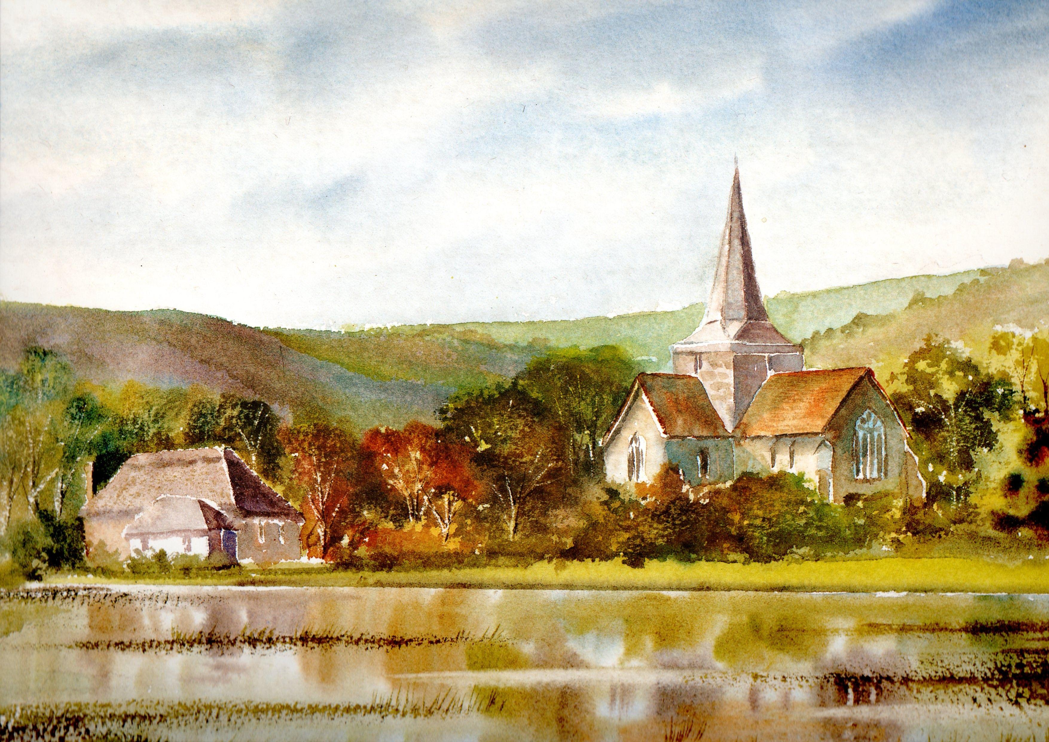 Alfriston landscape british art watercolor painting