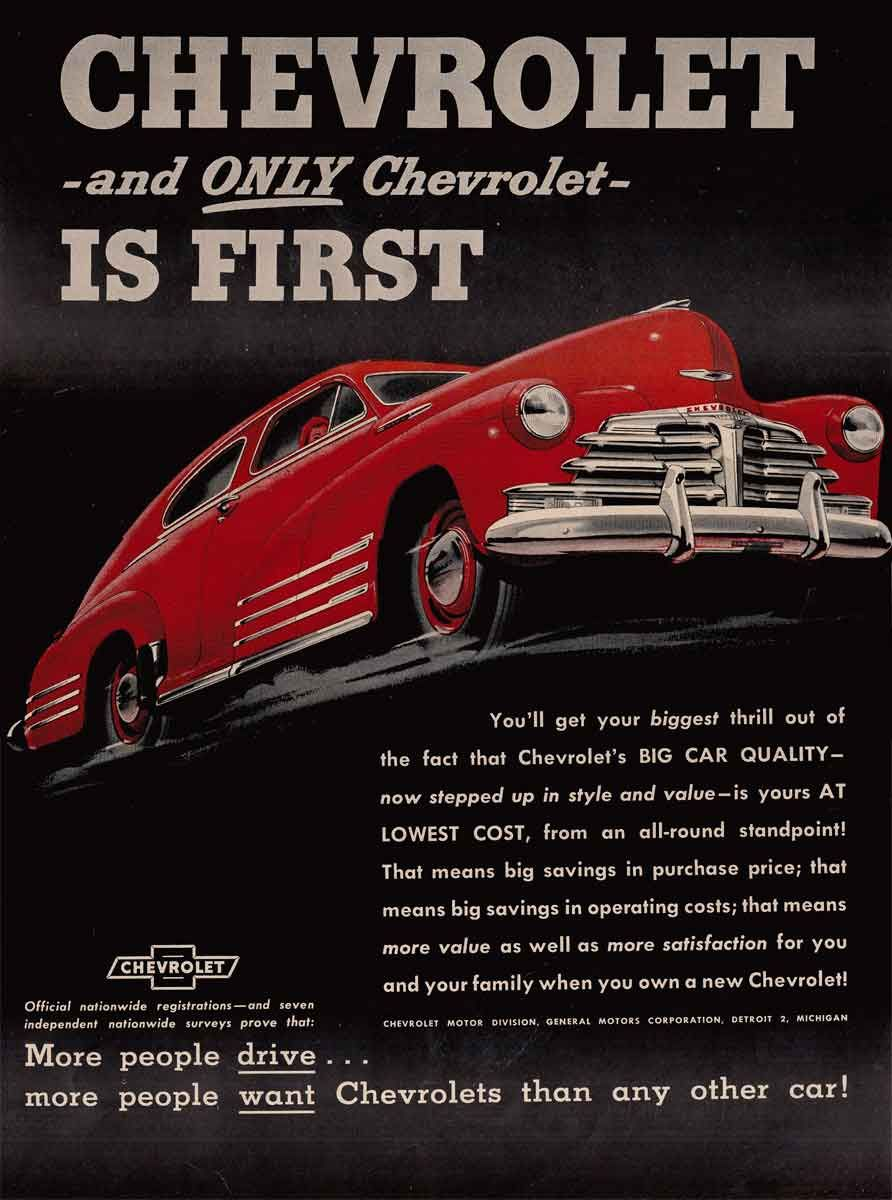 Wall art. Chevrolet  Vintage newspaper advertising Reproduction poster