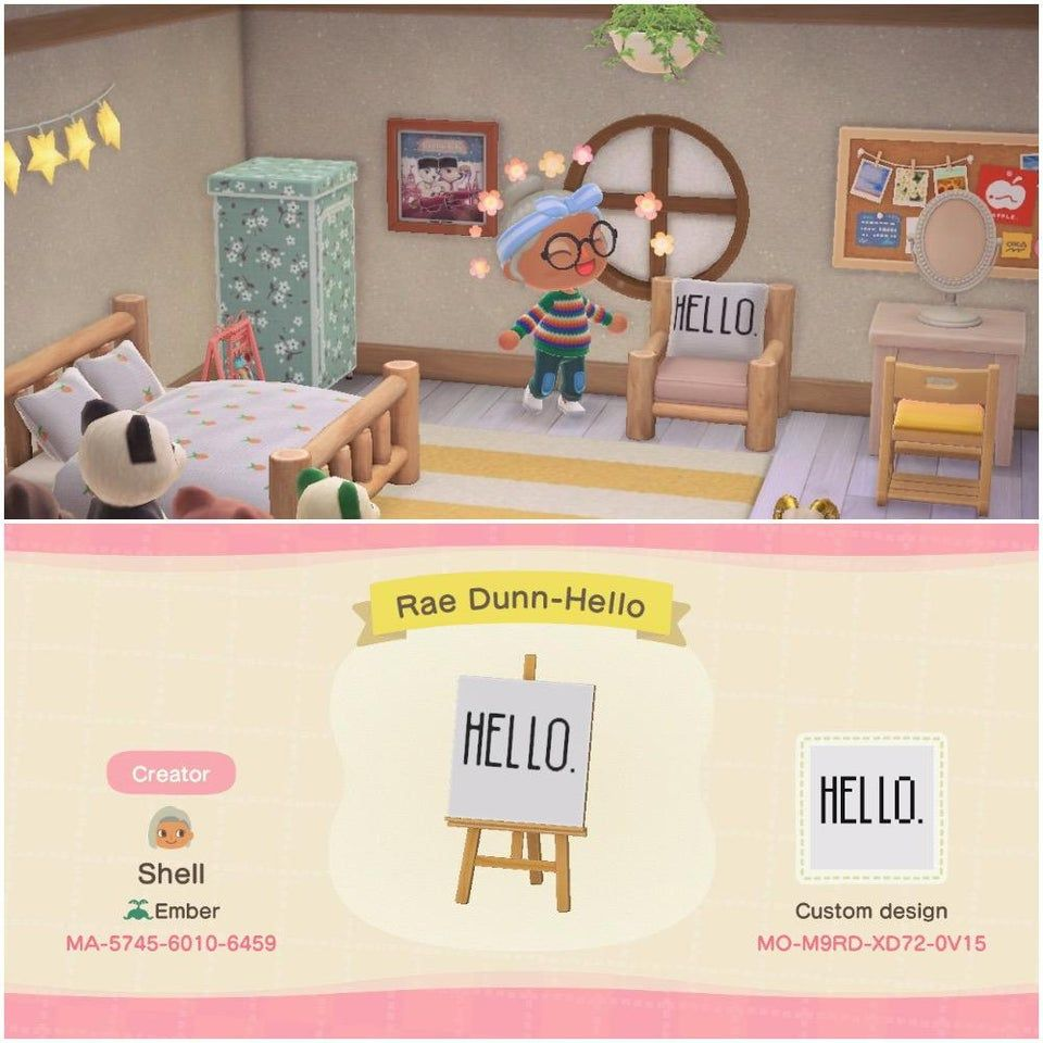 Rae Dunn Inspired Hello Pillow Acqr Animal Crossing Animal Crossing Qr New Animal Crossing
