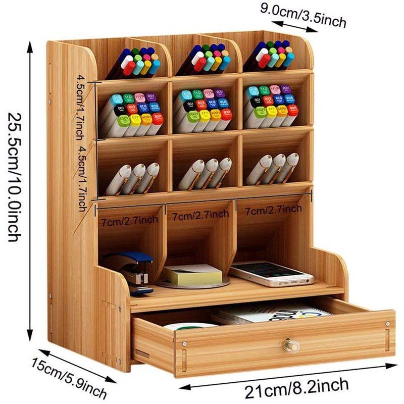Wooden Desk Organizer Multi Functional Diy Pen Holder Box Desktop