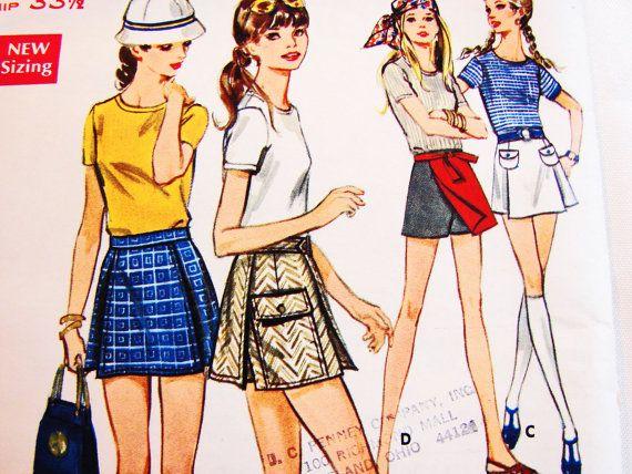 1970s Womens Mini Culottes Split Skirt Pattern Butterick