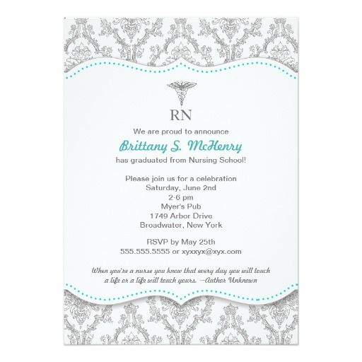 damask with color choice Nurse Graduation Invitation RN BSN LPN CNA RDH CNM