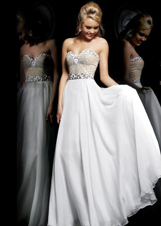 Cheap White Long Strapless Chiffon Beaded Prom Dress 2014 | prom ...
