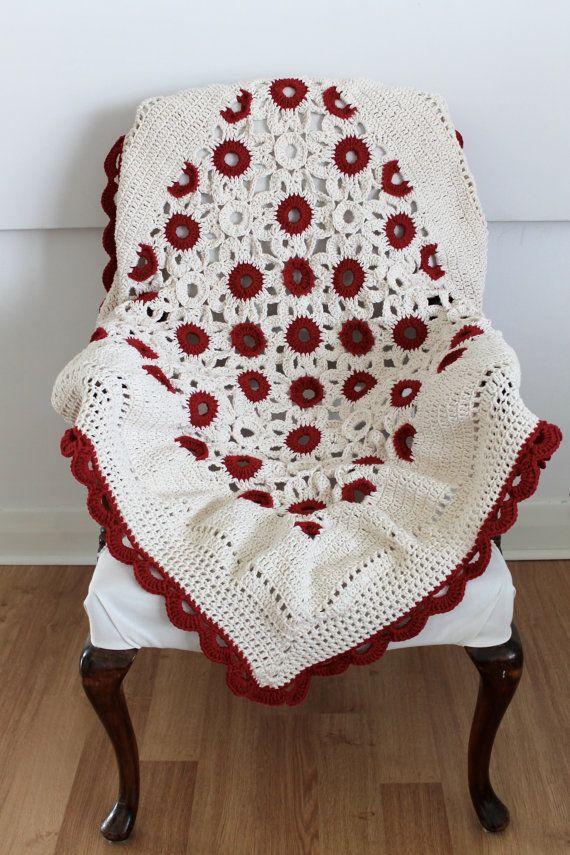 Handmade Crochet Lap Blanket Red and Cream, inspiration.   CROCHET ...