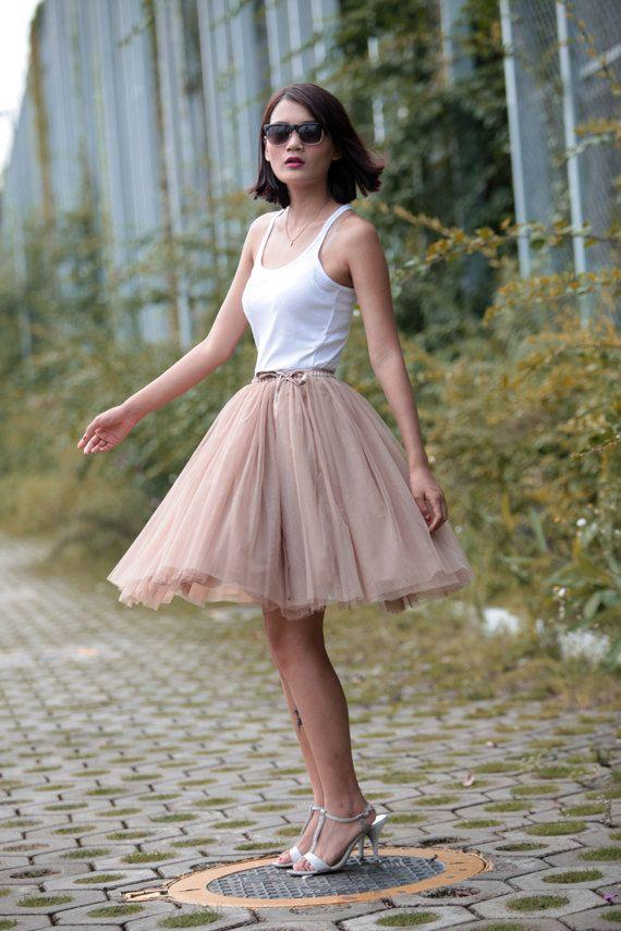 7af760b60d Tulle Skirt Tea length Tutu Skirt Knee length tulle tutu Princess Skirt  Wedding Skirt in Khaki - NC455
