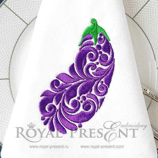 Eggplant Free Machine Embroidery Design 3 Sizes Machine
