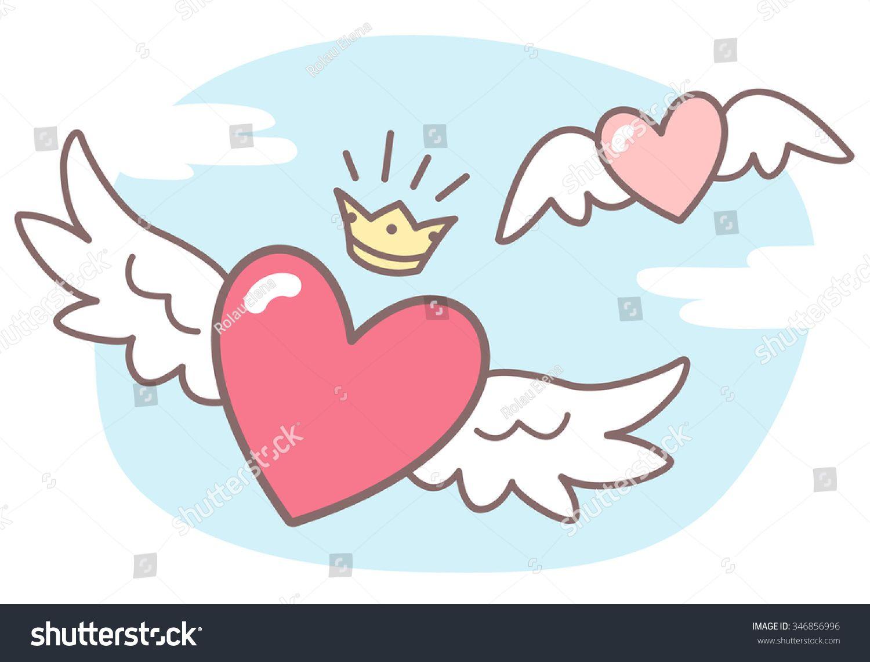 Сердца с крыльями, небо с облаками. Векторная иллюстрация ...