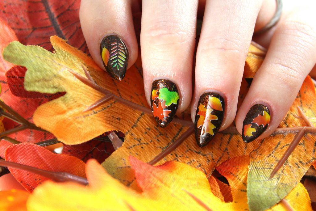 Fall leaf nail art for Thanksgiving | Nails and Polish | Pinterest ...