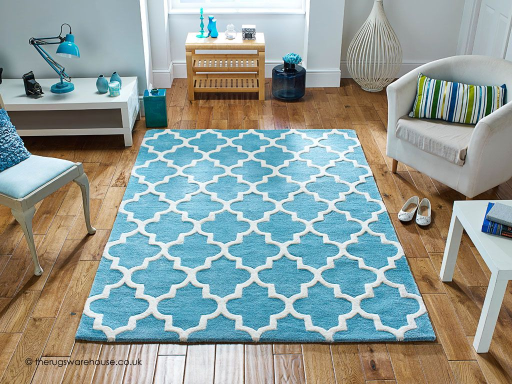 Arabesque Light Teal Rug A Thick And Heavy Teal Cream Rug With