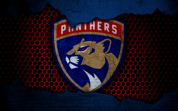 Download wallpapers Florida Panthers, 4k, logo, NHL, hockey, Eastern Conference, USA, grunge, metal texture, Atlantic Division