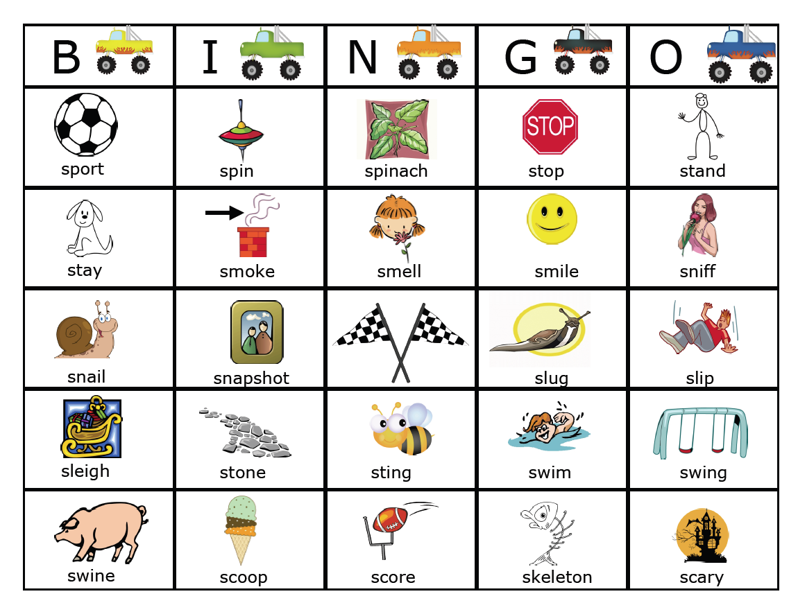 Workbooks r blend worksheets : S Blend Monster Trucks BINGO (and link to more) | Artic/ Phono ...