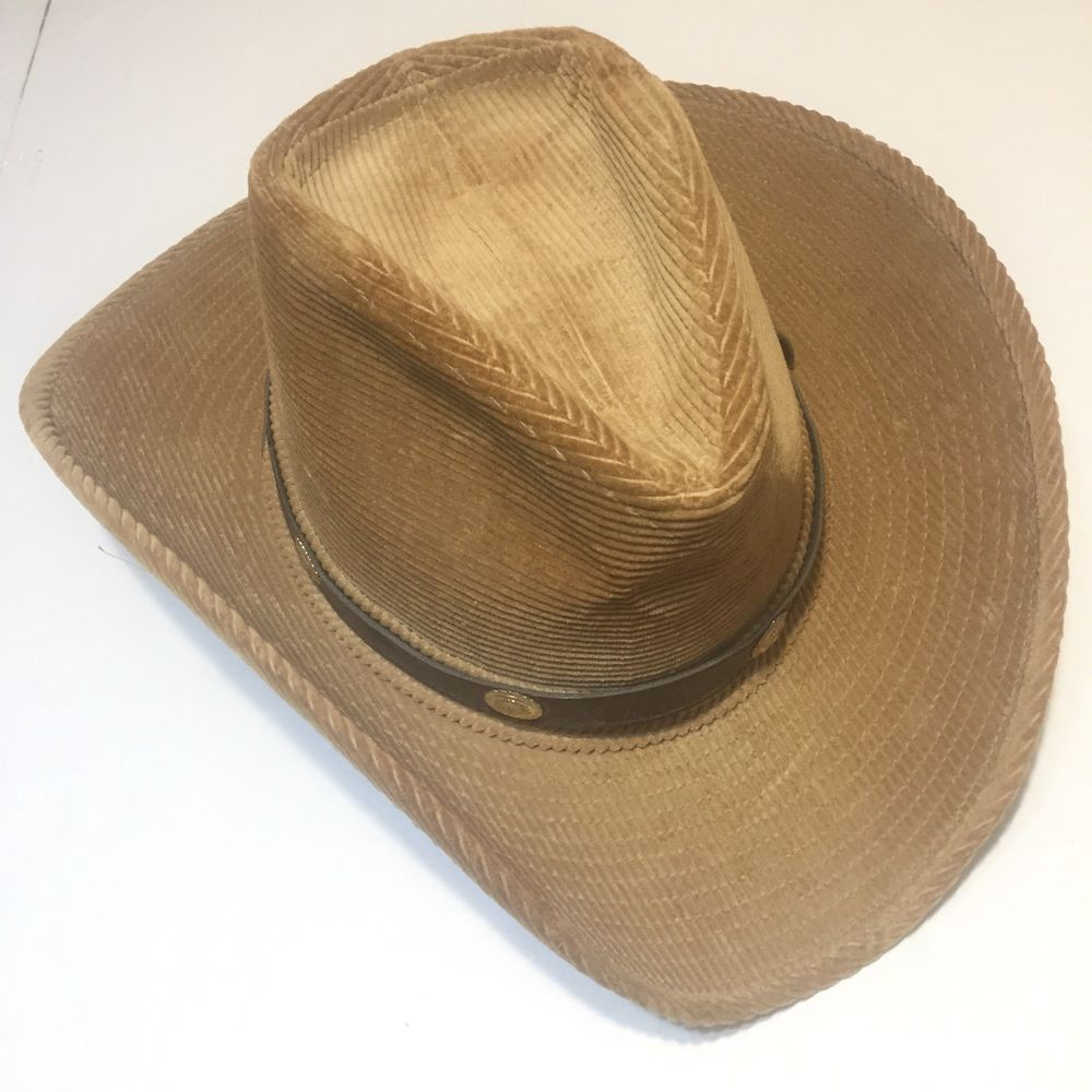 Resistol Western Cowboy Hat Tan Corduroy With Brown Leather Strap Sz 7 1 8  VTG  Resistol  Cowboy 570be676b4d5