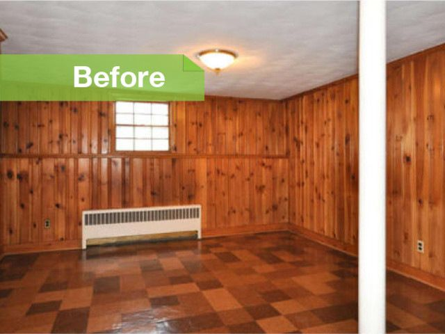Traditional knotty to nice painted wood paneling lightens for Can you paint over linoleum floors