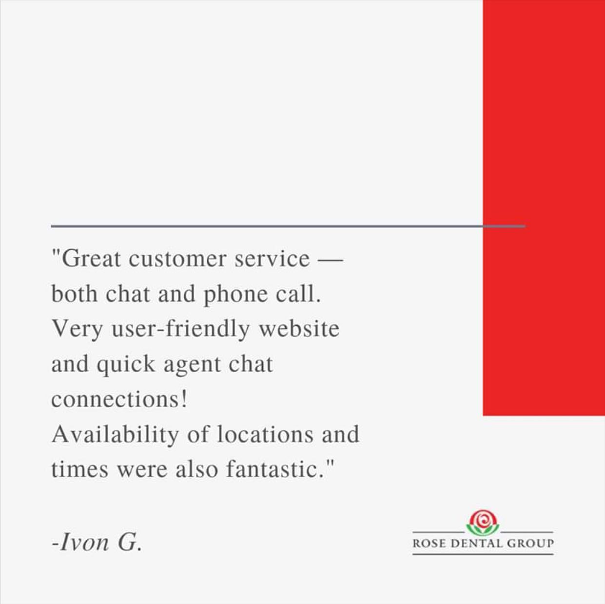 We Love Receiving Feedback From Our Patients Thank You For The Wonderful Review Ivon In 2020 Rose Dental Dental Group Patient