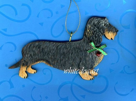 Custom Handpainted Wirehaired Dachshund Christmas Ornament Wire