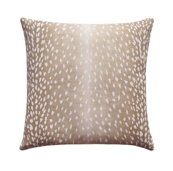 Fawn Pillow Cover, Deer Pillow, Animal Pillow Cover, Antelope Linen Pillow Cover, Beige Designer Linen Pillow, Animal Print Throw Pillow