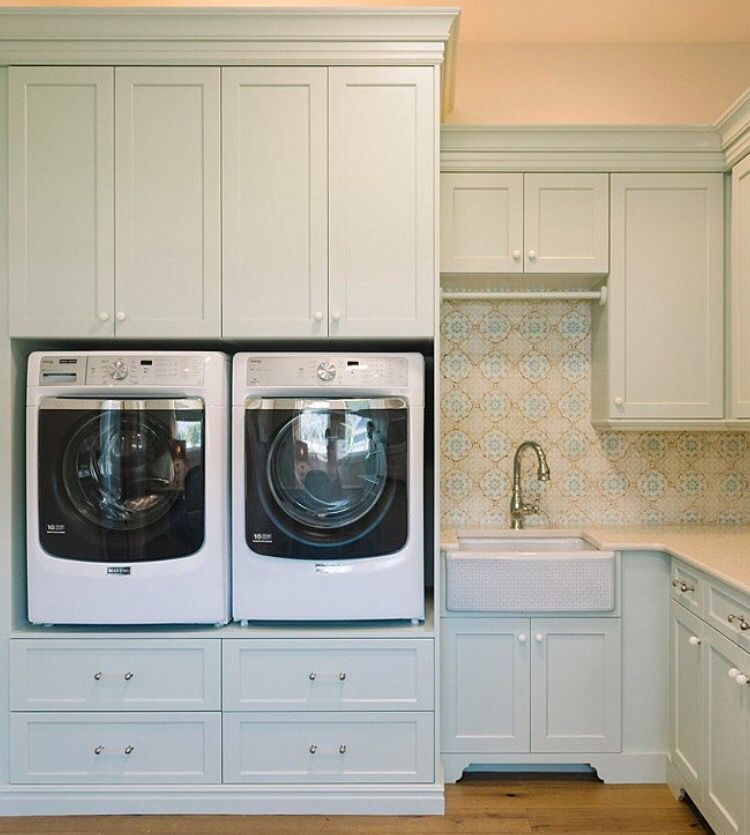 Raised Washer Dryer And Tons Of Cabinets In 2019 Laundry