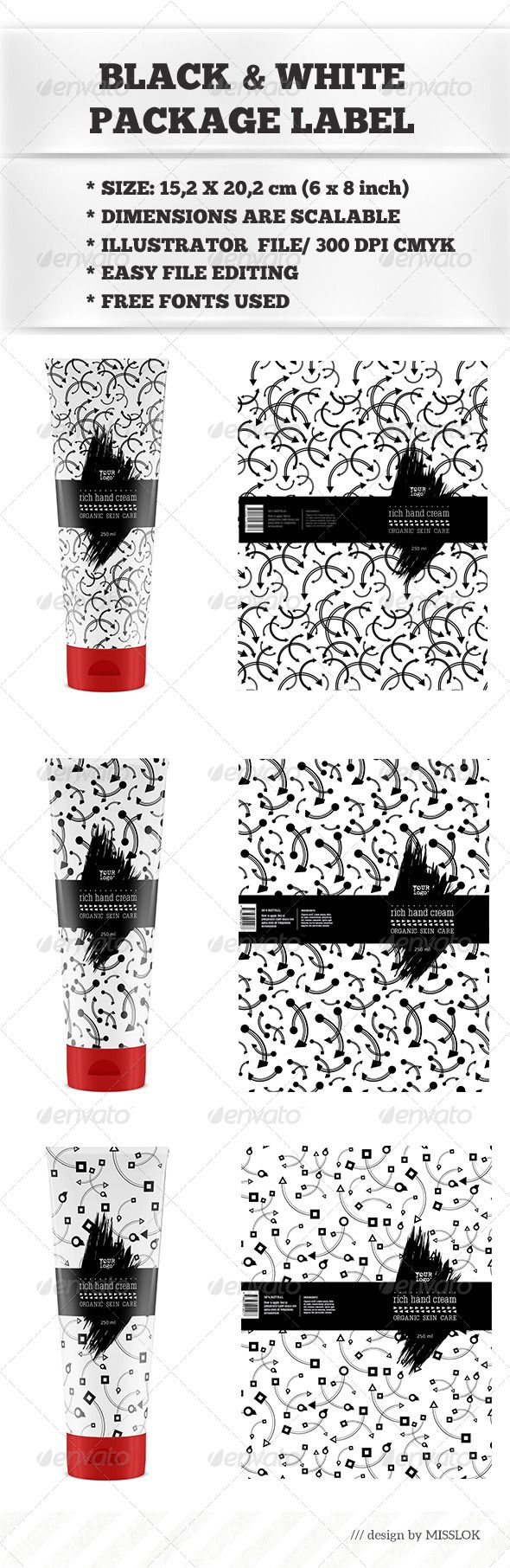 Black & White Package Labels | Print templates, Template and Graphic ...