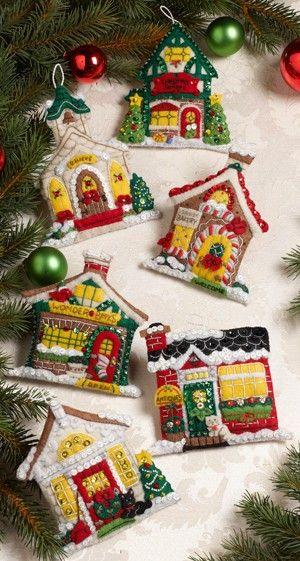 Houses Bucilla Felt Christmas Ornament by Mary Engelbreit FELT - christmas town decorations