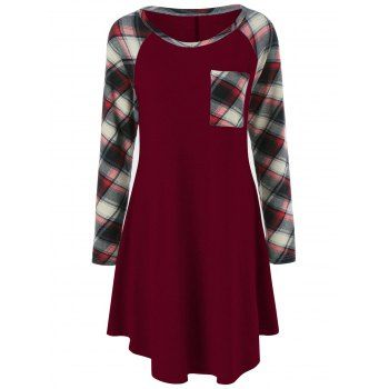 SHARE & Get it FREE | Plaid Trim Single Pocket Tee DressFor Fashion Lovers only:80,000+ Items·FREE SHIPPING Join Dresslily: Get YOUR $50 NOW!