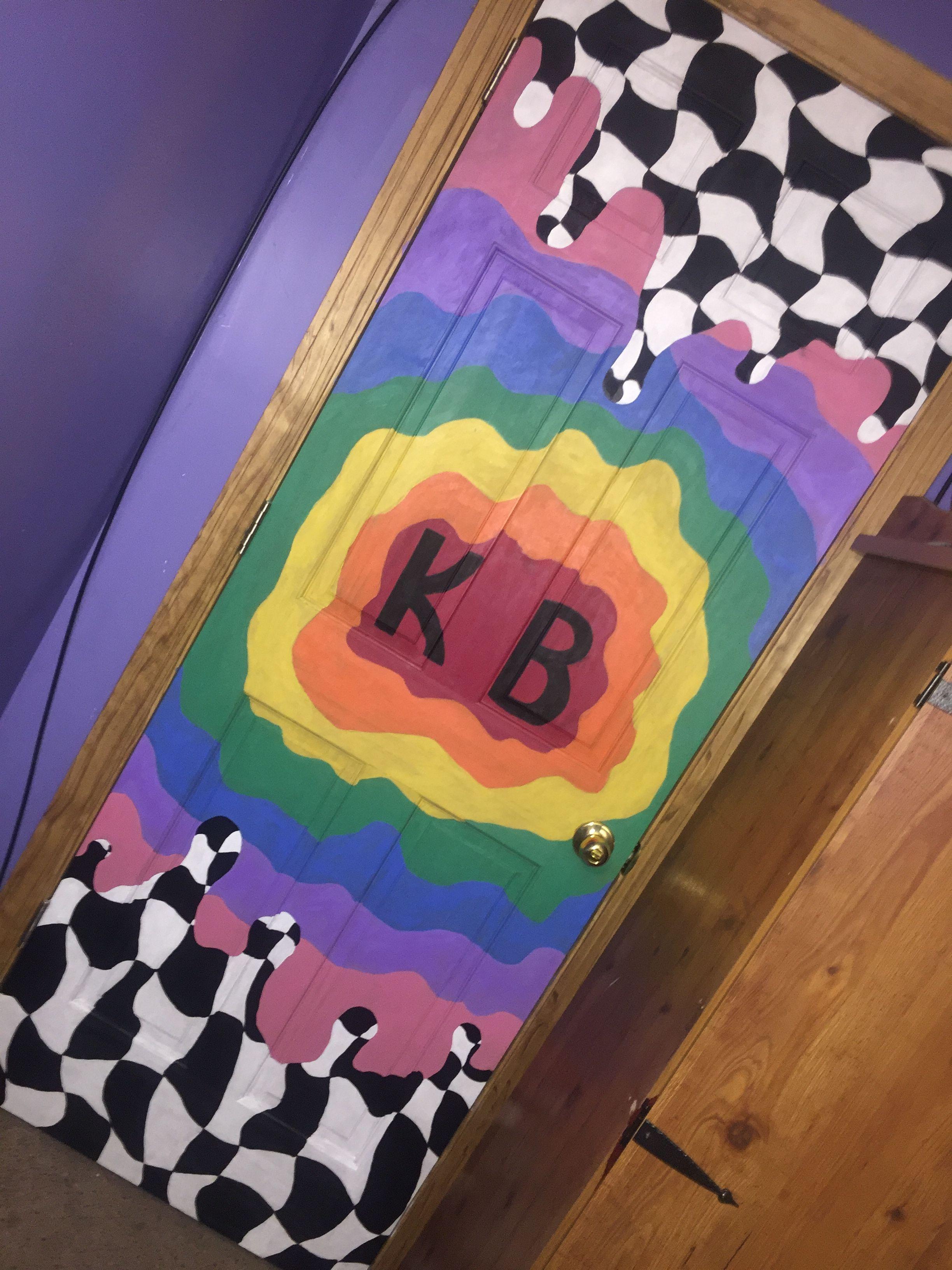 Trippy Painting On Door Painted Door Room Diy Diy Door Painted Painteddoorhippie Pai Bedroom Wall Paint Painted Bedroom Doors Painted Doors