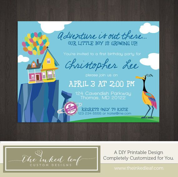 Up Birthday Party Custom Printable Invitation Inspired by the Disney