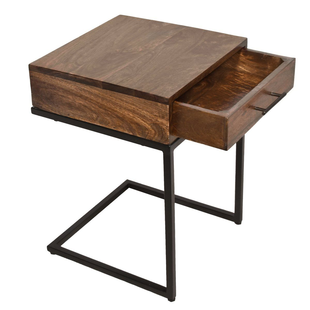 Upt 186118 Mango Wood Side Table With Drawer And Cantilever Iron Base Brown And Black Side Table Wood Side Table With Drawer Side Table