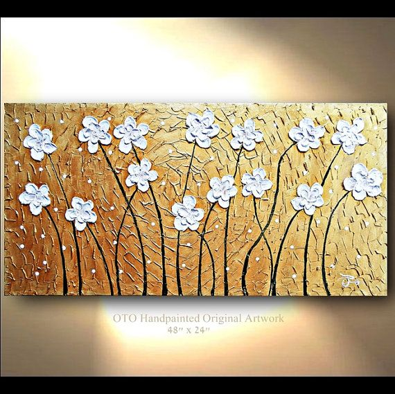 Made to Order 72 Original Tree Painting White Gold by tjenkinsarts