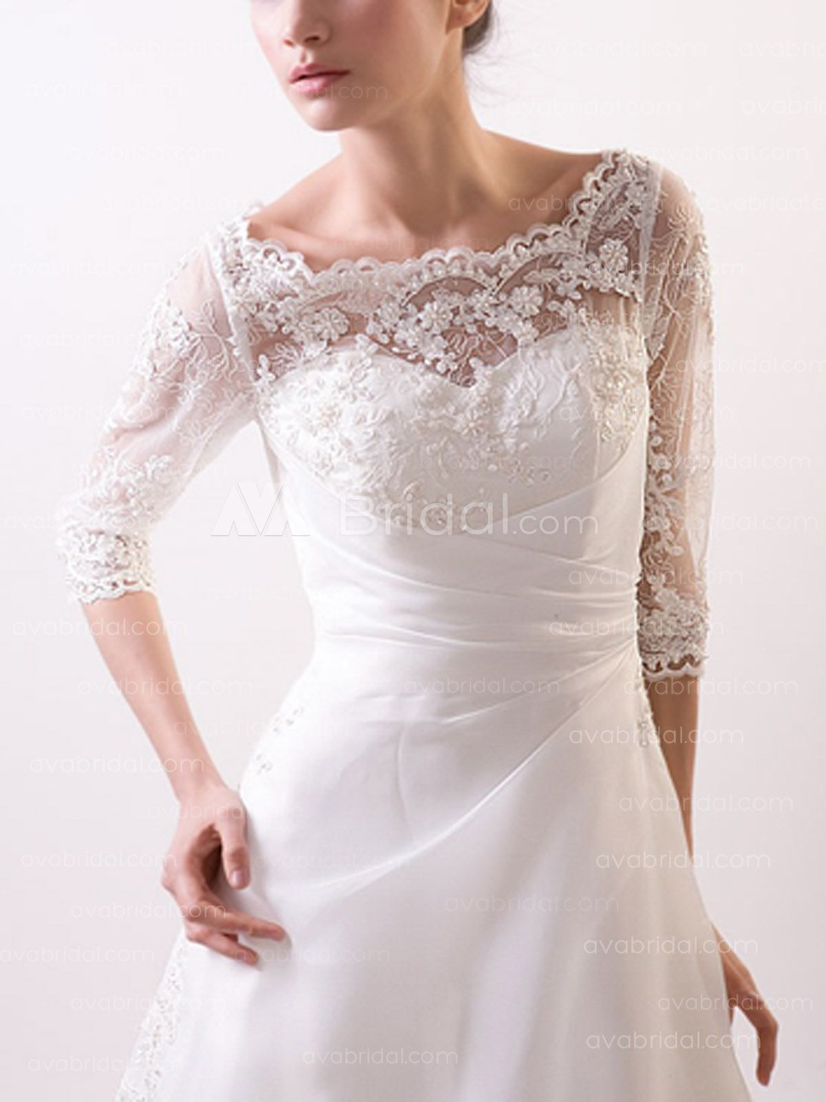 A Line Bateau Neck Chapel Train Lace Wedding Dress (W86)