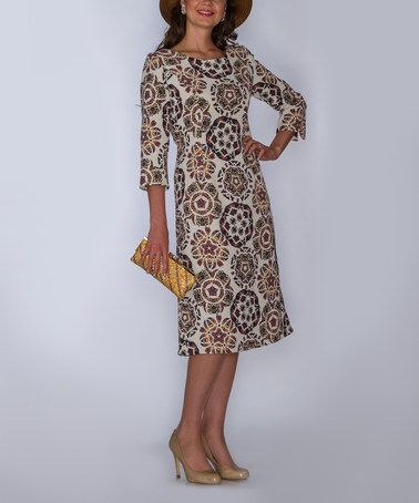 Love this Ivory Arabesque Three-Quarter Sleeve Dress - Women & Plus by Lily & Taylor on #zulily! #zulilyfinds