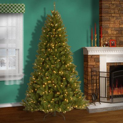 Three Posts Green Spruce Artificial Christmas Tree with LED Colored