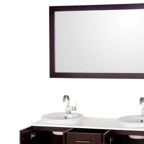round basin brown vanity