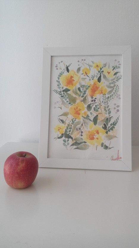 My watercolor. Yellow spring flowers