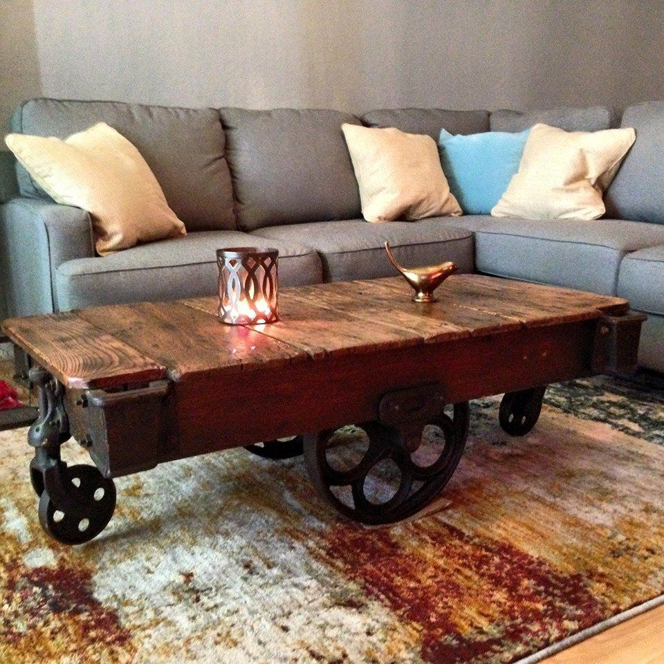 Lineberry Railroad Cart In Its New Home As A Coffee Table These Beauties Left With Unique Daisy Wheels Original Stencil And Grain