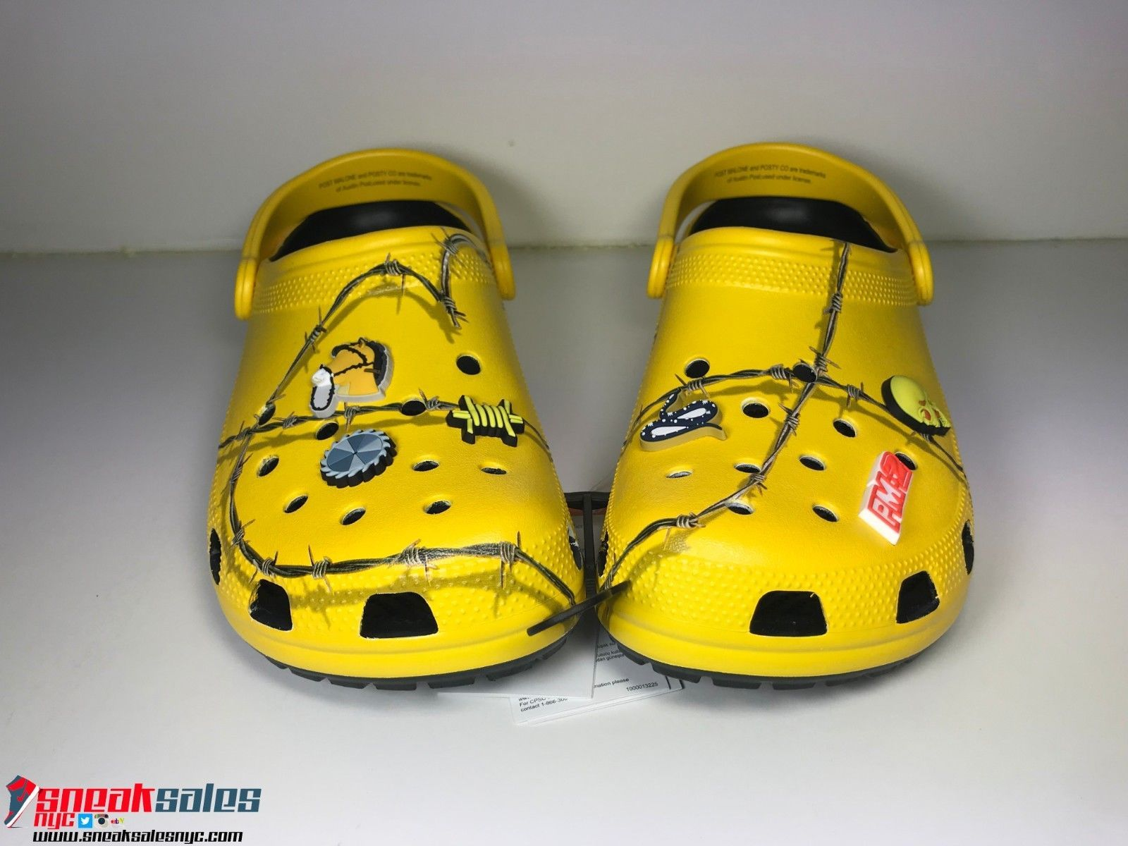 Post Malone Barbed Wire: Post Malone X Crocs Dimitri Clog Barbwire Yellow Size 10