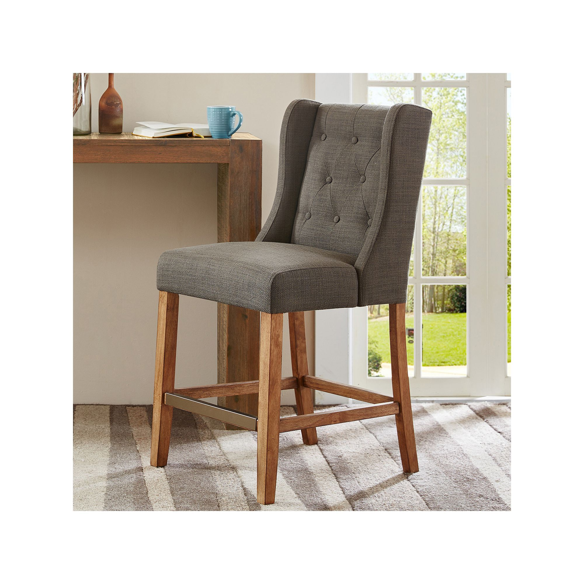 Sensational Madison Home Usa Aida Button Tufted Counter Stool Products Ibusinesslaw Wood Chair Design Ideas Ibusinesslaworg