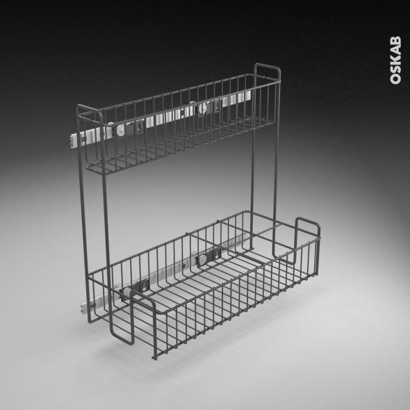 Rangement lessiviel pour produits d'entretien 2 étages panier coulissant EPOXY Anthracite L40 x ...