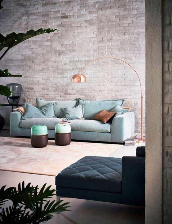 super schöne wohnzimmer wände gestalten interessantes sofa in blau - schöne wohnzimmer ideen
