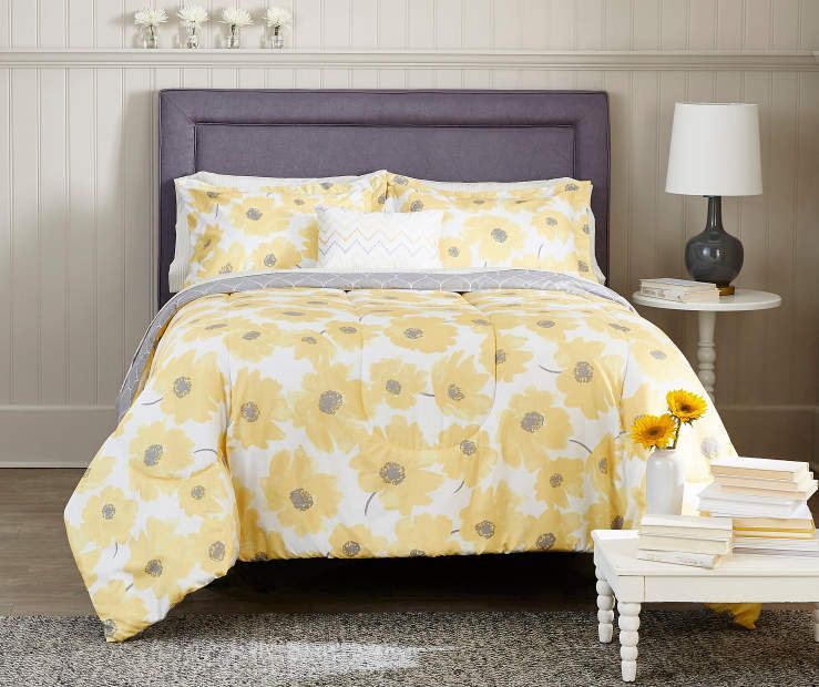 Best Just Home P*Nsy Yellow Gray Reversible Comforter Sets At 640 x 480