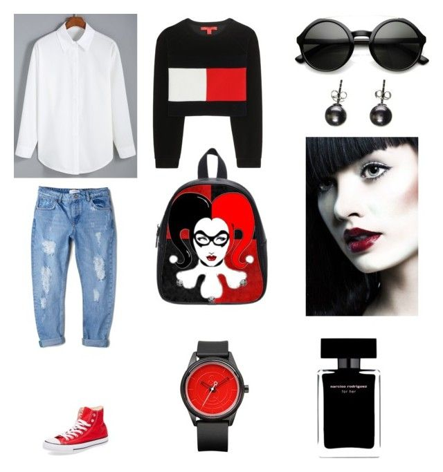 """""""Storm"""" by siena-polo on Polyvore featuring Tommy Hilfiger, MANGO, Converse and Narciso Rodriguez"""