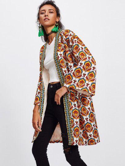 354a873f0c Shop Ornate Print Embroidered Tape Trim Kimono Coat online. SheIn ...