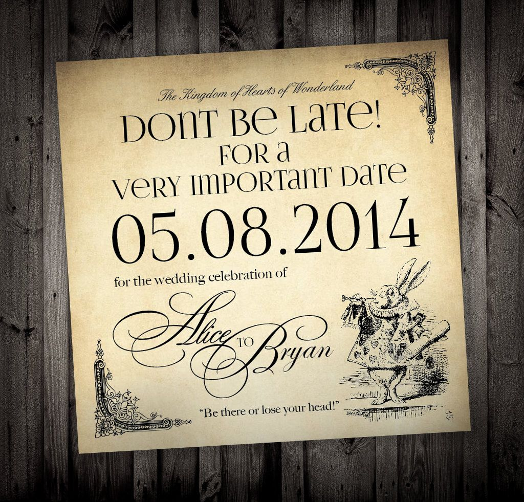 Alice in Wonderland Themed Wedding Invitations by NimbiDesign