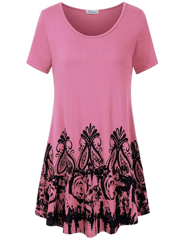 4d78230dd8b Women's Soft Flowy Pleated Short Sleeve Swing Tunic Tops Shirts - Pink -  CZ18C0XU84M - Women's Clothing, Tops & Tees, Tunics #Tunics #Women's # Clothing ...