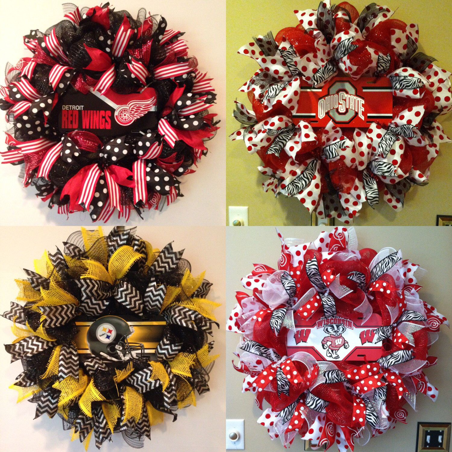 Pick Your Team Custom School Or Sport Wreath Made To Order Sports Wreaths How To Make
