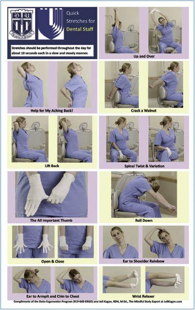 Figure 2. Quick Stretches for Dental Staff (Reprinted courtesy of the Duke Ergonomics Program, Duke University.)