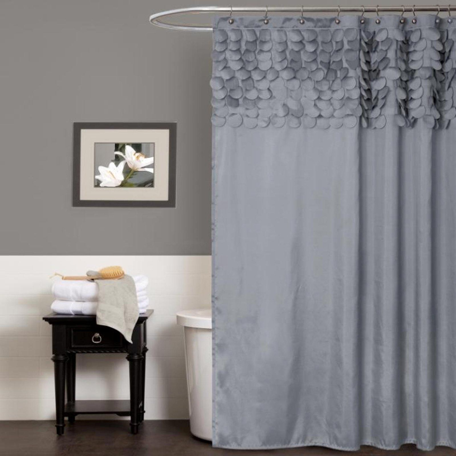 Lush Decor Lillian Shower Curtain Gray