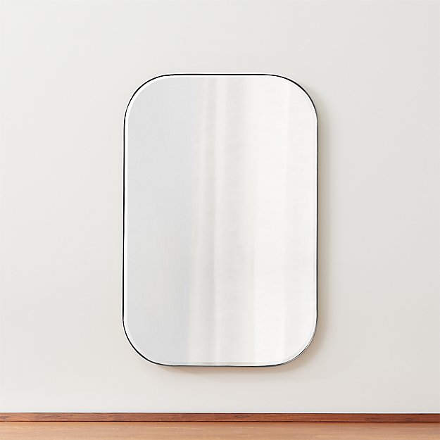 Edge Brass Rounded Rectangle Mirror Reviews Crate And Barrel Rectangle Mirror Brushed Nickel Bathroom Mirror Minimalist Wall Mirrors