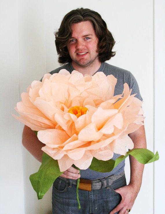 JUMBO FLOWER - handmade oversized tissue paper flower - unique paper sculpture - gift idea - first anniversary