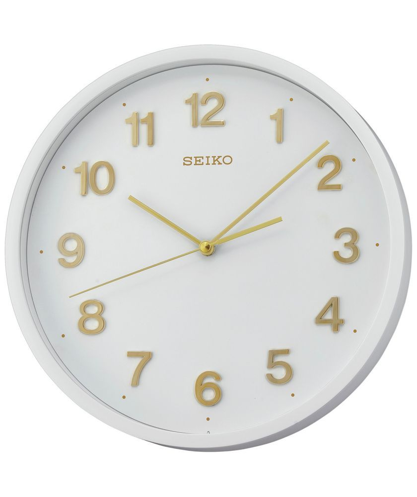 Buy Seiko White Plastic Wall Clock With Gold Number At