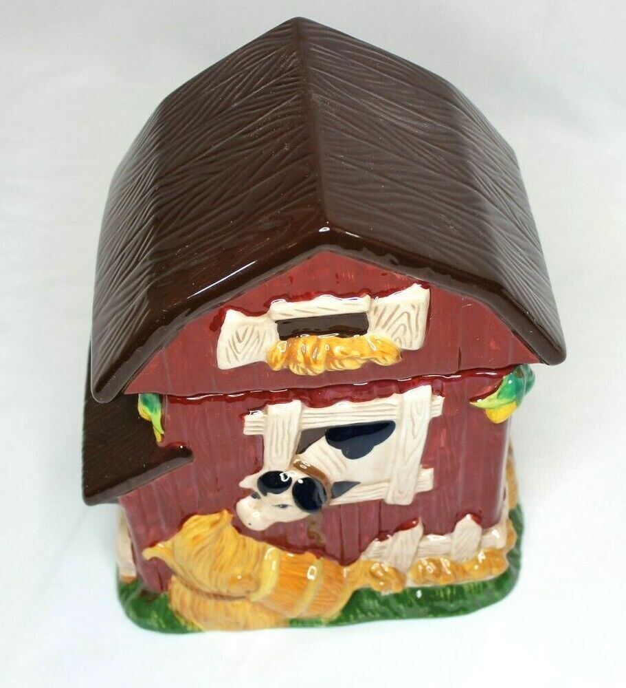 Farm barn pig cow cookie jar home trends 3d new in box